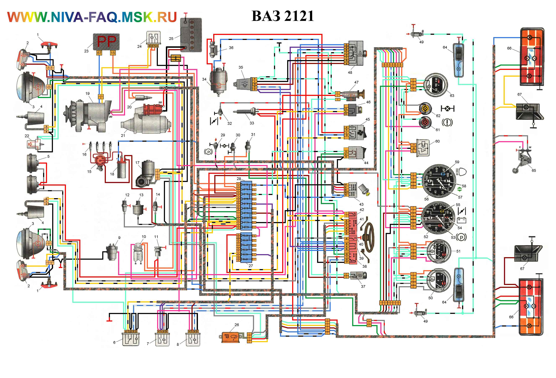 Схема электрическая принципиальная комбинации приборов автомобилей семейства LADA 4X4 21214, 2131.