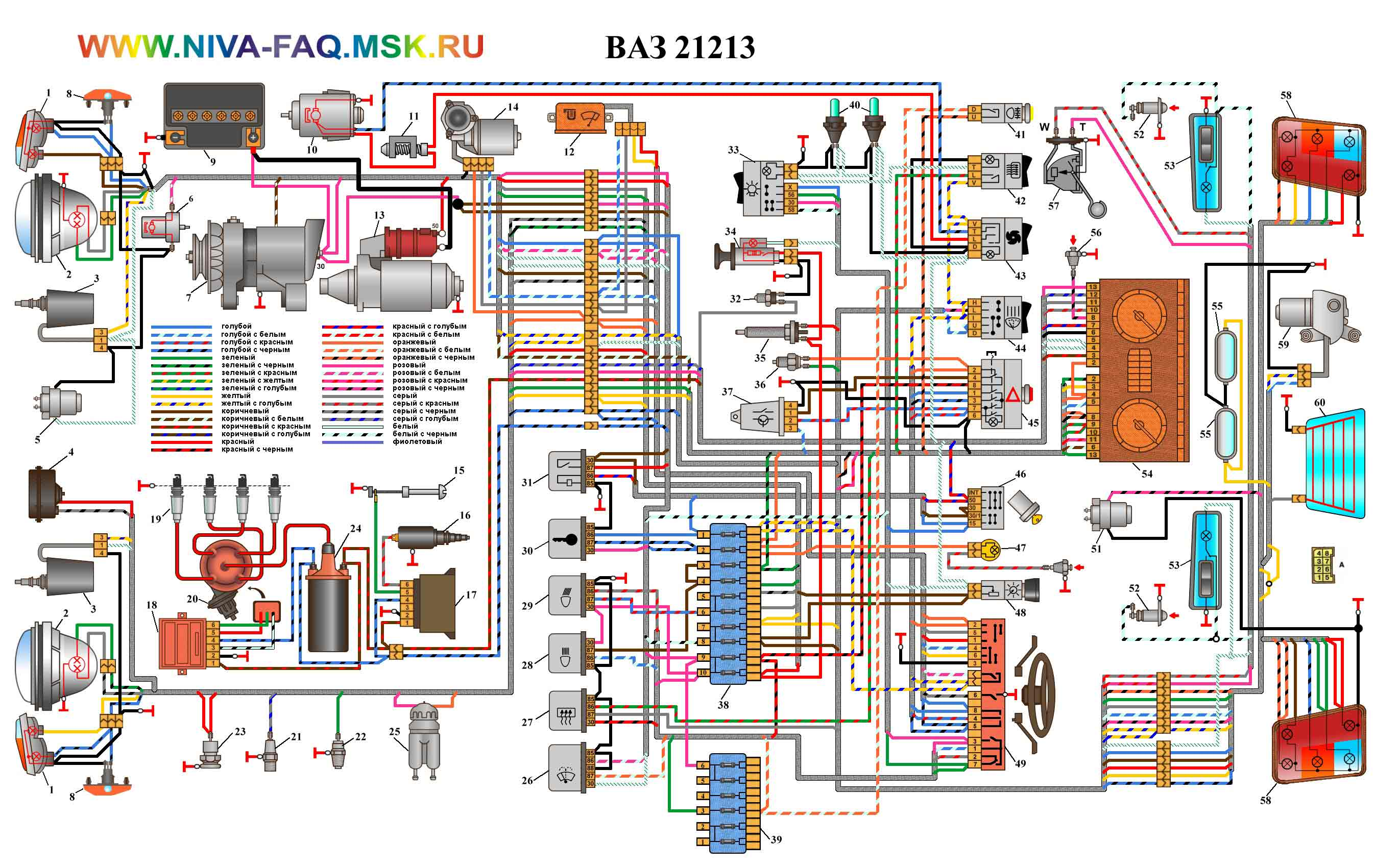 ЭЛЕКТРОСХЕМА НИВА для отечественного схемы в хорошем качестве для Нива ВАЗ-21213.