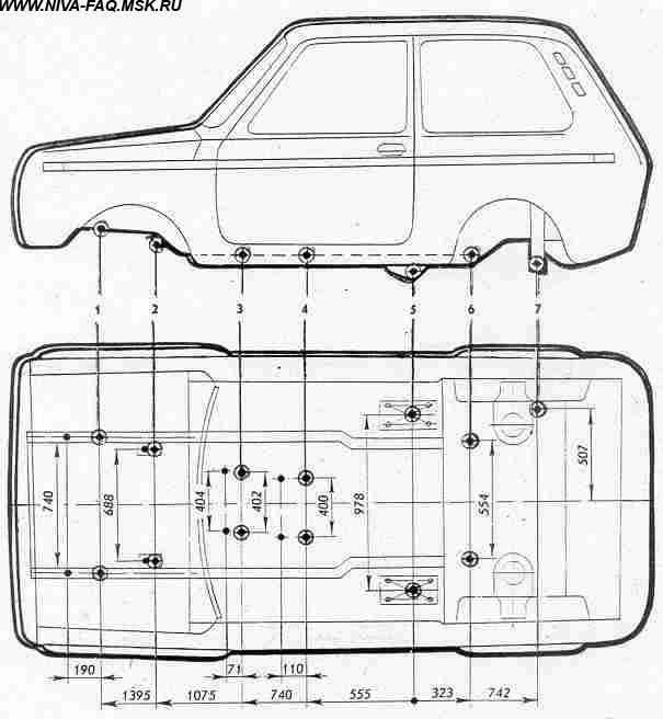 Основные геометрические размеры кузова ваз 2121