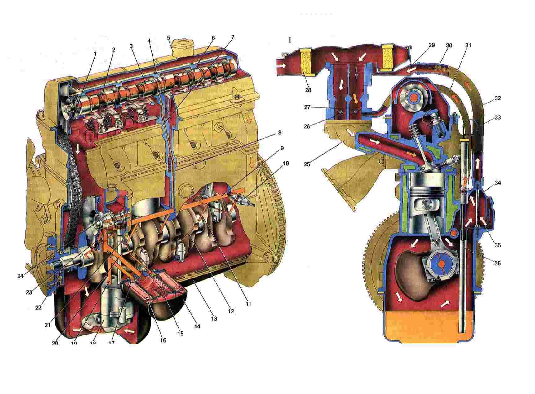 Рис. 4. Система смазки двигателя: 1. Отверстие в звездочке для смазывания цепи; 2. Магистральный канал в...